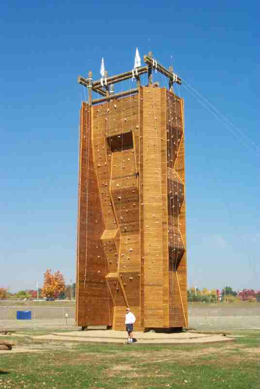 Natural deck stain on climbing tower